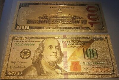 Beautiful Gold Foil $100 Bill, Has No Cash Value & Intended For Collectors Only!