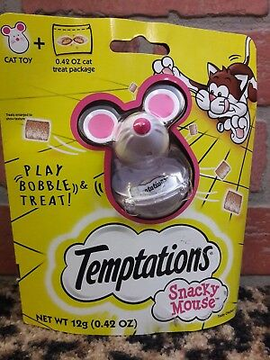 TEMPTATIONS SNACKY MOUSE Cat Toy Snack with Treats New in Box Gift Play Bobble