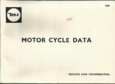 1969 BSA Motor Cycle Data booklet, scarce & fine for age!