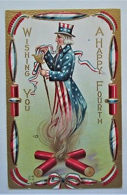 HAPPY July 4th UNCLE SAM with TOPHAT Firecrackers Embossed Gold Postcard