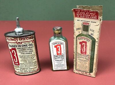 Vintage 3 In One Oil Can, Bottle, Box w/instructions