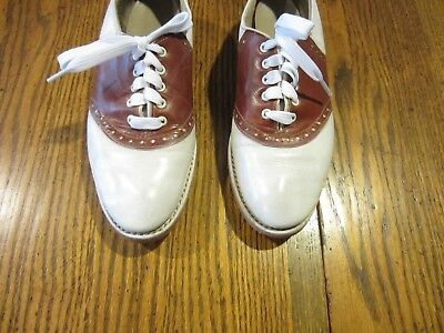 VINTAGE WOMEN'S SPALDING '50's/'60's BROWN & WHITE LEATHER SADDLE SIZE 6-61/2 B?