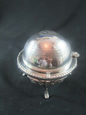 Hand Engraved Silver Plated Covered Butter Dish c.1910-20