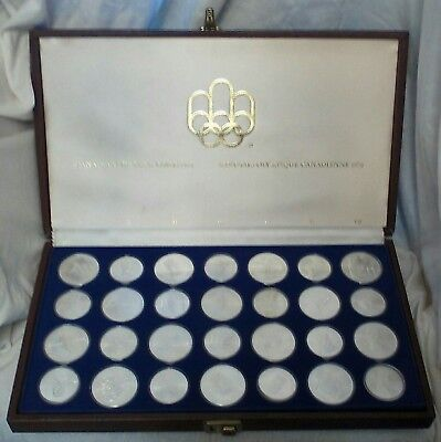 CANADA 1976 STERLING SILVER OLYMPIC COINS SET 28 pcs 30 OZ of SILVER BU w/CASE