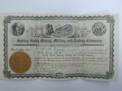 Spring Gulch Mining, Milling, and Trading Company stock certificate, 1903
