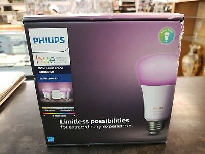 Philips Hue Gen 2 60W A19 White /& Color Ambiance Smart 3 Bulb Kit 456194