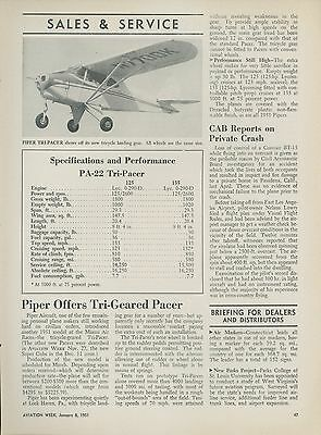 1951 Aviation Article Piper Aircraft PA-22 Tri-Pacer Personal Airplane Specs