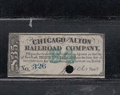 Chicago & Alton Railroad Company 1879 Bond Coupon