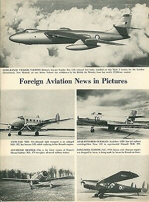 1953 Aviation Article New Planes Vickers Valiant Dassault MD 316 & 450 +