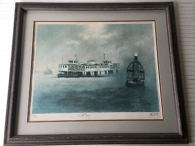 "Star Ferry by John Kelly Signed & Numbered Framed Lithograph Print, 26"" x 20"""