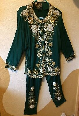 Green Bali Chic  (top and pants)  Vintage One size