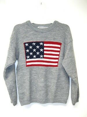 Vintage USA Patriotic Kids Boys Girls Soft Gray Knit Flag Sweater size 5 / 6