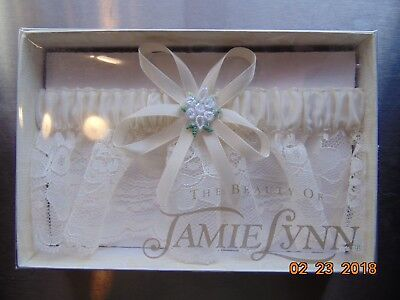 JAMIE LYNN WEDDING GARTER - IVORY - New - Free Shipping