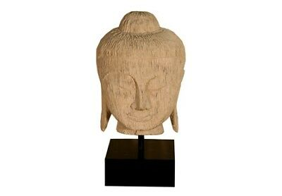 "30"" Carved Buddha Head Roman Stone Resin Composite Natural Brown Base 1298"