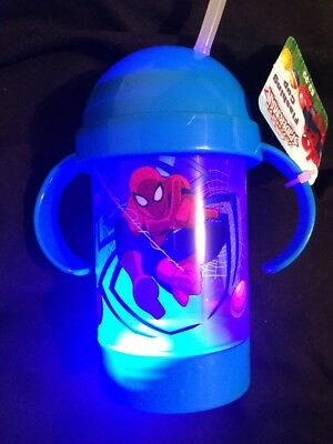 Marvel Coolites Spider Man Light Up Flashing Toddler Child Drinking Sippy Cup