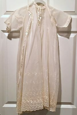 Embroidered Baptism Christening Organza Victorian Girl's Dress & Cape 2pc Set