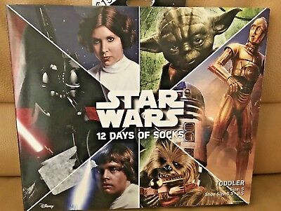 Star Wars 12 Days Of Socks -Toddler Size Small - Shoe Size 5.5-8.5