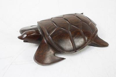 "Hand Carved Iron Wood Brown Sea Turtle 8"" Long"