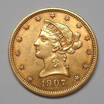 1907 $10 Gold Liberty Head Eagle, AU Condition - FREE Shipping