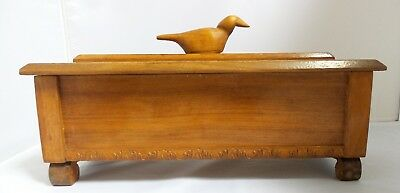 Antique Vintage Wooden Box with Carved Bird Finial, Golden Walnut Wood N/R