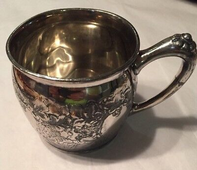 Antique Quadruple Silverplate Mother's Cup 4 Cartouches For Names Dates