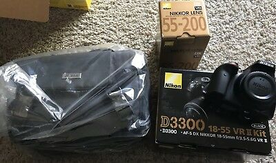 Nikon D D3300 24.2MP Digital SLR Camera - Black (Kit w/ 18-55mm and 55-200mm...