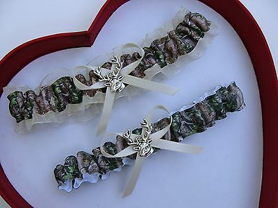 ** NEW ** Mossy Oak Camouflage Camo Ivory Wedding Garter Prom Hunting Chick Deer