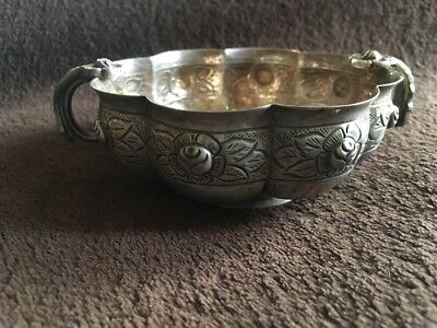 Sanborns Mexico Sterling Silver Rose Handled Dish