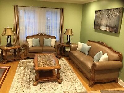 Pleasant Living Room Set 5 Piece Leather Sofa Loveseat Coffee Machost Co Dining Chair Design Ideas Machostcouk