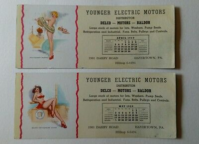2 Vintage 1959 Pin Up Advertising Ink Blotters Younger Electric Motors April May