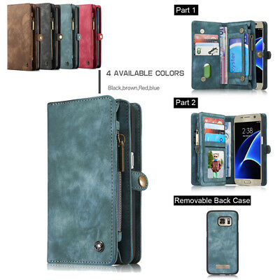 Men/Women's Leather Money Clip Magnet Pocket Wallet ID Card Case For Samsung New