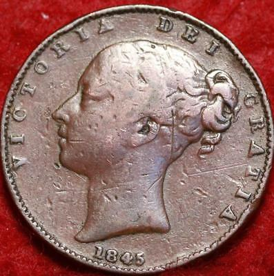 1845 Great Britain Farthing Foreign Coin