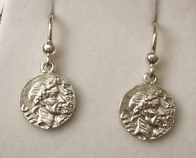 Genuine Solid 925 Sterling Silver Ancient Roman Republic Coin Hook Earrings