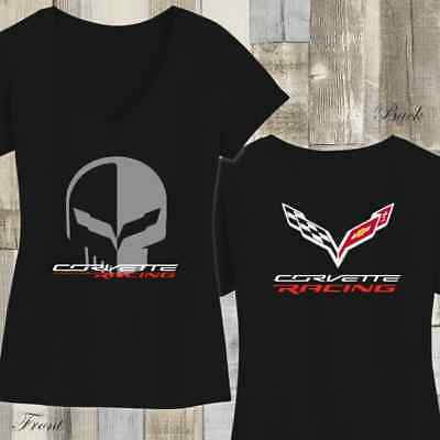 Chevrolet Corvette Racing Jake Skull Womens V-neck Shirt