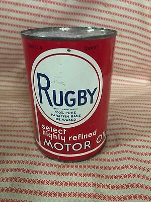 Rare Vintage Rugby Motor Oil Can One Quart Pennsylvania Advertising One Quart