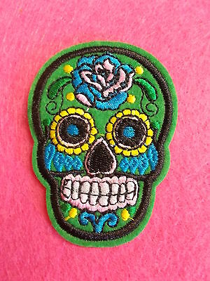 * Sugar Skull Embroidered Iron On / Sew On Cloth Patch - New - Green - 1 Patch *
