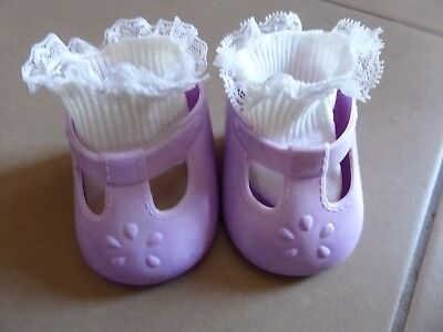 MY CHILD DOLL Rare MAUVE 1980s CHINA T bar shoes ~ Good Vintage Condition