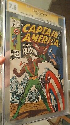 Captain America #117 CGC 7.5 SS WHITE PAGES! **1st Falcon** Signed By Stan Lee!!