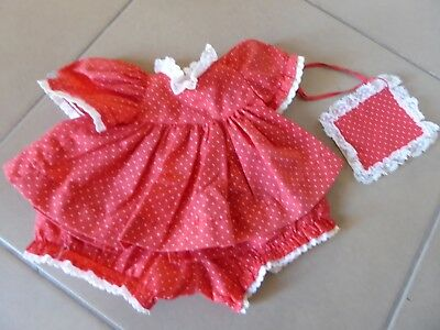 My Child Doll Original Outfit Vintage 1980's Red Spotty Pinny Dress Set + Book