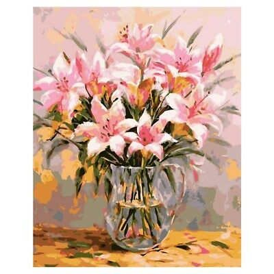 Frameless Lily Picture On Wall Oil Painting Flowers Home Decor Drawing Hand R1D6