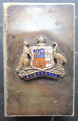 "original 1950's EPNS , ""Australian coat of arms"" silver plate match box protecto"