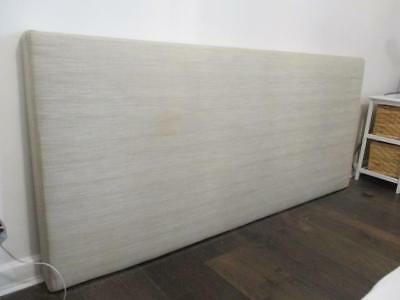 Contemporary King Size Headboard Neutral Linen Upholstery 183Cm Wide