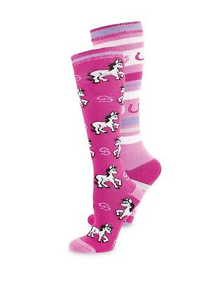 Crane * 2 Pairs Of Pink Horse / Stripe Knee Length Riding Socks * Childs 9 - 12