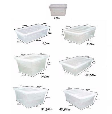 Clear Stackable Plastic Storage Boxes Underbed Lidded Chest Container UK Made
