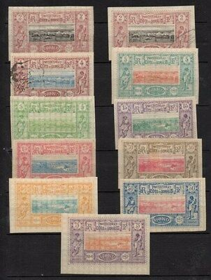 Stamps Djibouti 1894 Imperf issues to 75 cents mint with couple used