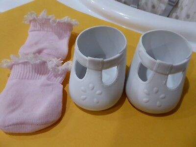 1 PAIR MY CHILD DOLL  T Bar SHOES 1980s  + PINK LACE SOCKS