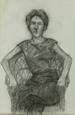 Mark Ivan Clark - Contemporary Charcoal Drawing, Seated Woman