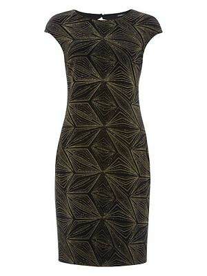 a8a8449384 Stunning Roman Black Velvet Gold Glitter Geometric Evening Occasion Dress 18