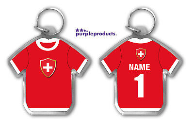 Personalised SWITZERLAND 2018 World Cup Football Team Supporters Keyring