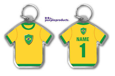 Personalised BRAZIL 2018 World Cup Football Team Supporters Keyring